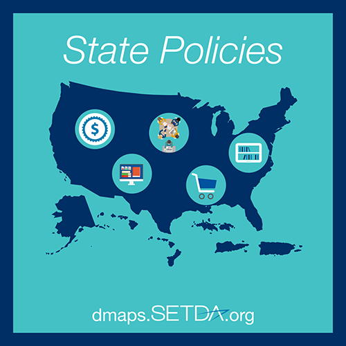 State Policies with the URL DMAPS.setda.org. There is a US map with icons of teachers and devices in circles.