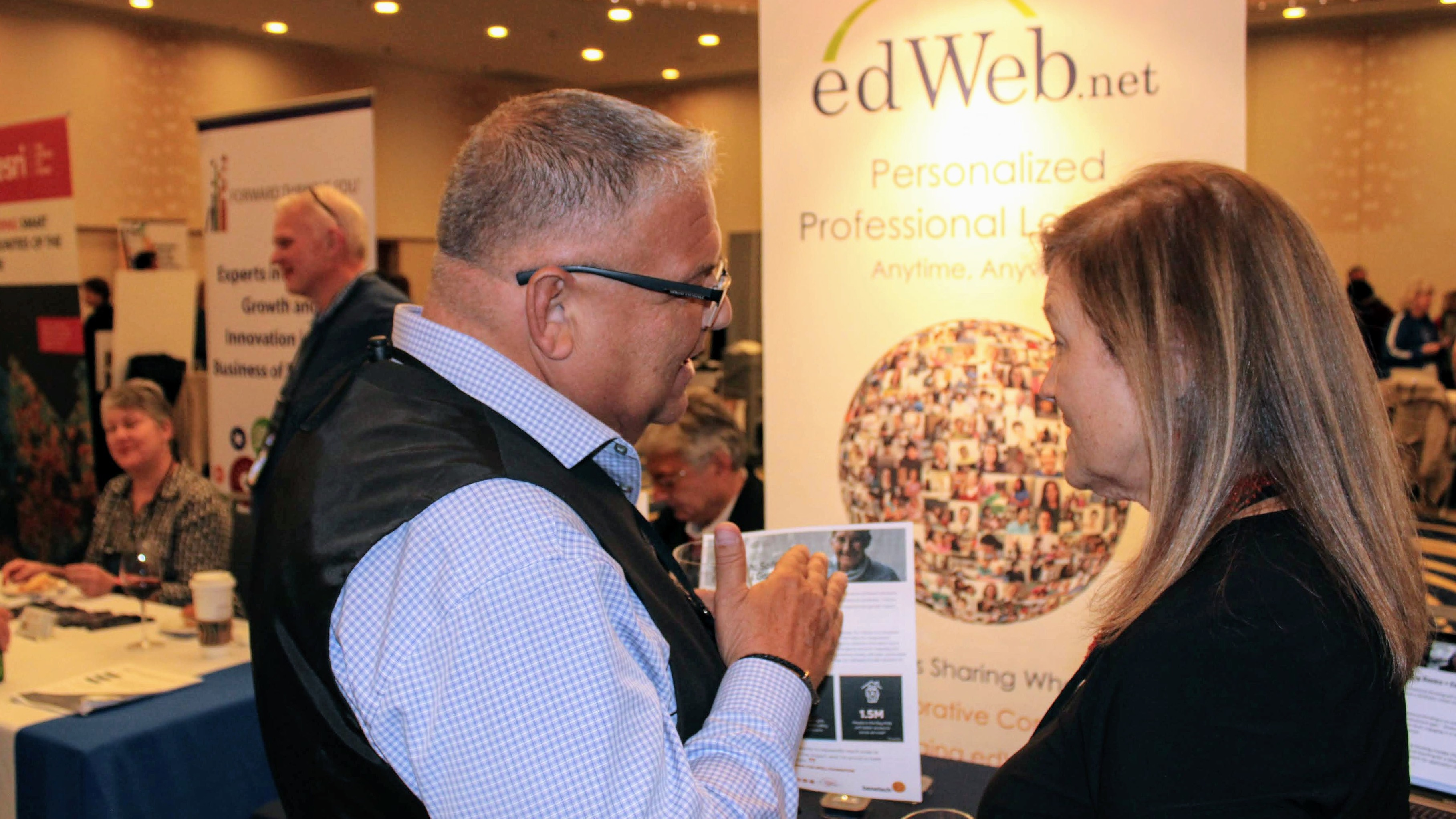 Partner reception conversation with edWeb banner