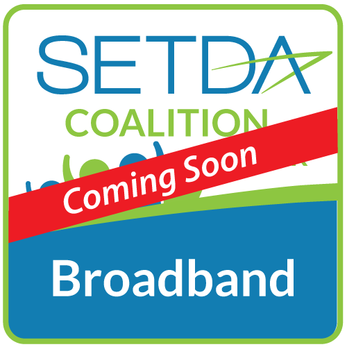 Broadband Coalition graphic with red coming soon banner