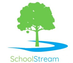 School Stream text with a green tree